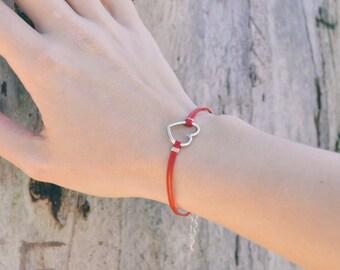 Heart bracelet, red bracelet with silver heart charm, love bracelet, minimalist jewelry, gift for girlfriend, anniversary gift for wife