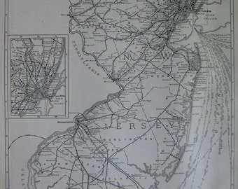 RARE NEW JERSEY Map of New Jersey Mileage Map 1927 Vintage Map Black and White Gallery Wall Art 6298