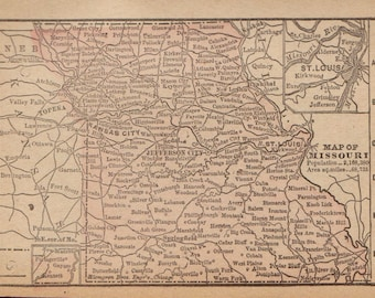 RARE Size Map of MISSOURI Map Missouri State Map Vintage 1889 MINIATURE Map  Plaindealing 6370