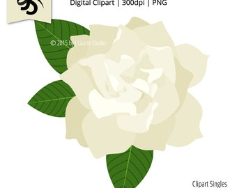Digital Clipart-Clipart Singles-Gardenia-White Flower-Graphics-Image-Digital Scrapbook Element-PNG-Instant Download Clip Art