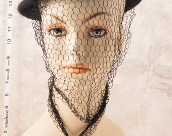 Black Betmar vintage ladies hat embellished for Halloween. Webbing, skulls, gothic
