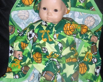 "Lime Green Sport Balls Sleeper, Hooded Blanket and Hat Doll Clothes Made to Fit Bitty Baby and other 15"" Dolls"