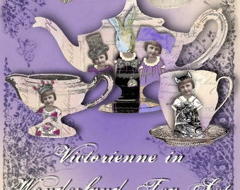 Victorienne in Wonderland Tea Set - Digital Collage Sheet - Instant Download - Alice in Wonderland - Through the Looking Glass