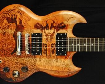 Custom Epiphone Guitar - Woodburned Viking Theme