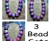 Round Polymer Clay Beads Turquoise Pearl Pewter Purple Fuchsia Artisan Handcrafted 3 Sets