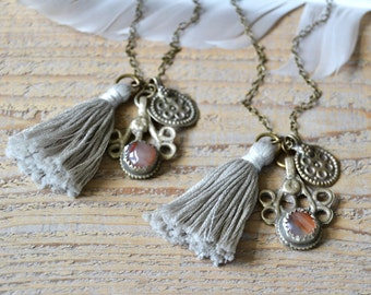 Bohemian tassel necklace, gypsy boho hippie jewelry, tassel jewelry, OmSaha, gift for her