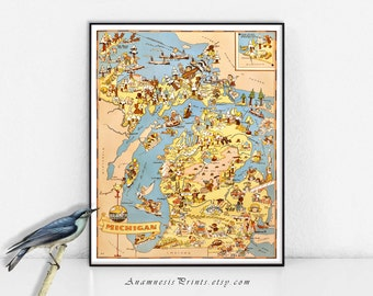 MICHIGAN MAP PRINT - vintage picture map to frame - whimsical housewarming gift - illustrator Ruth Taylor White - fun vintage home decor