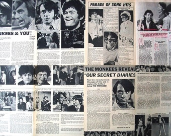 THE MONKEES ~ Daydream Believer, Davy Jones, Micky Dolenz, Mike Nesmith, Peter Tork ~ B&W Articles from 1968 - Batch 2