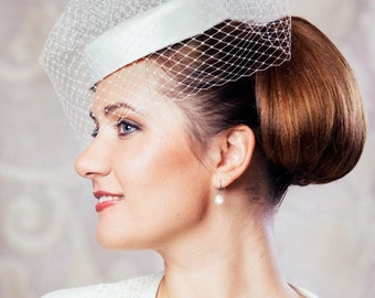 Cream Bridal Pillbox Hat with Birdcage Veil - Ivory Bridal Fascinator - White Wedding Hat