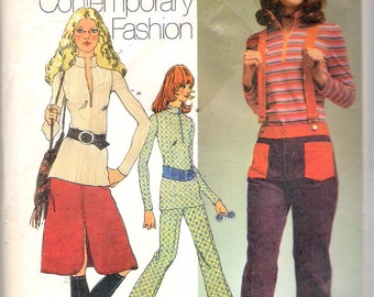 """Vintage 1971 Simplicity 9580 Young Contemporary, Blouse, Skirt & Bell-Bottom Hip-Hugger Pants Sewing Pattern Size 8 Bust 31 1/2"""""""