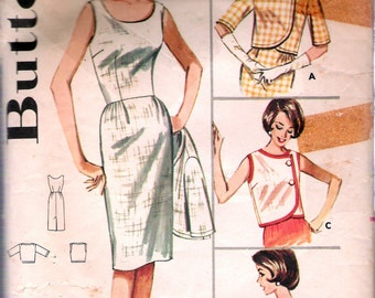 "Vintage 1960's Butterick 2250 Dress & Jacket Ensemble Sewing Pattern Size 12 Bust 32"""