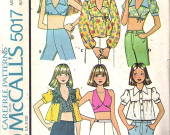 """Vintage 1978 McCall's 5017 Retro Set of Tops Sewing Pattern Size 10 Bust 32 1/2"""""""