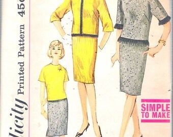 """Vintage 1963 Simplicity 4556 Junior's Skirt and Over-Blouse Sewing Pattern Size 13 Bust 33"""" UNCUT"""