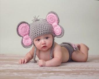 Crochet Photo Prop, Elephant Costume, Newborn Elephant, Costume Halloween, Halloween Elephant, Elephant Halloween, Newborn Costume
