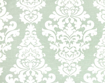1 yard Berlin Artichoke - Home Decor Slub Fabric - Premier Prints  - Pale Green White Damask