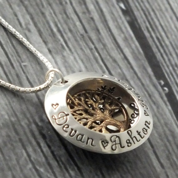 Sterling Silver Family Tree Locket / Mothers Jewelry / Personalized Necklace