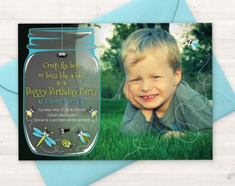 Bug Birthday Party Invitation, Bug Party Printable Invite, ANY AGE, Boy Birthday Invitation, Girl Birthday Bugs Invitation, Insects, Bug Jar