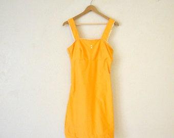 Vtg 70's Handmade Yellow Dress