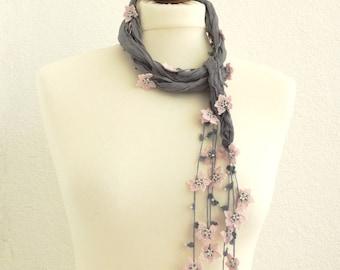 Silk Wrap Scarf, Silk Necklace, Gray Silk  Foulard, Powder Pink Flowers, Beadwork, Woman Accessories, Fashion Accessory,
