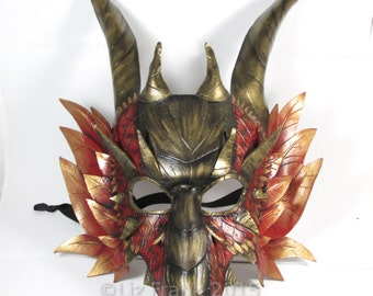 Deluxe Dragon mask! Leather Dragon mask, Red and Gold, FREE SHIPPING in US*!, Halloween, Larp mask, Theater Costume, Masquerade