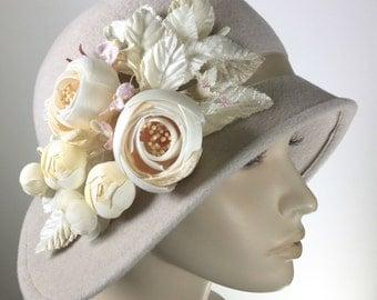 Miss Fisher Off White Cloche Hat, Women's Fur Felt Winter Hat