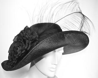 WIDE BRIM Black Kentucky Derby Hat, Women's Hat with Feathers, Black Asymetrical Brim Hat