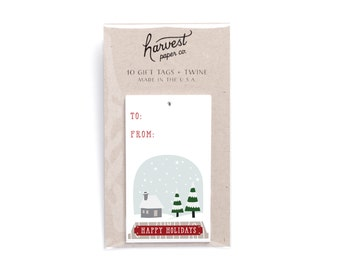 Holiday gift tags & twine, set of 10.  Christmas gift tags. Snow Globe gift tags. Gift wrap. Wrapping supplies.