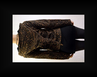 30% Off SALE! Women's Celtic all over print Fairy Coat Hoodie in Brown/Black
