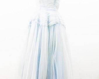 1940s Pale Blue Sleeping Beauty Debutante Prom Dress