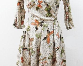 1950s Schiaparelli Style Butterfly Dress