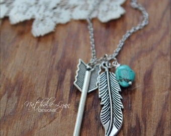 Feather and Arrow Necklace, Feather Necklace, Arrow Necklace, Turquoise Necklace, Boho Necklace