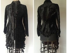 COAT SALE - Victorian Velvet Mantle with Tassels - Antique Black Velvet Jacket / Coat