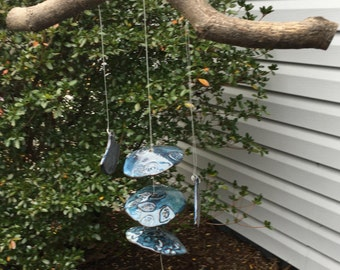 Handcrafted Floating Blue Pottery Windchimes