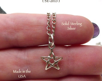 Sterling Silver Pentagram Necklace, .925 Silver Small Star Charm Necklace, Sterling Star Jewelry, Celestial Jewelry, .925 Silver - SE-2013