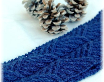 "Headband ""Hernando Island"", hand knit in pure soft and warm cashmere in attractive cable pattern - READY TO SHIP"