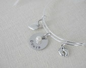 Doula Gift - Adjustable Charm Bracelet Hand Stamped - Customize - Choose Charms and Color