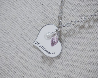 Hand Stamped Heart Charm Necklace with Name or Words - Grandma or Personalized