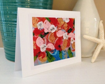 5x7 Fine Art Print Greeting Card from Original Red Flower Bloom Abstract Acrylic Painting