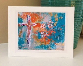 5x7 Fine Art Greeting Card from Original Abstract Crossl in Blue, Gold, Orange and White Painting