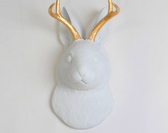 White Faux Taxidermy Jackalope - The Corduroy in White w/Gold Antlers - Faux Bunny Head Art - Jackalope Mount -Animal Friendly Rabbit Decor
