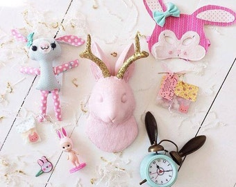 Jackalope Head, The Corduroy Cameo Pink w/Gold Glitter Antlers, rabbit Ornament, Animal Friendly Easter Bunny Decor by White Faux Taxidermy