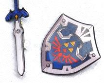 Sword and shield  pin/brooch set