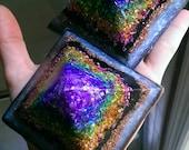 Rainbow Chakras Orgonite Pyramid // Patina and Black Crystals