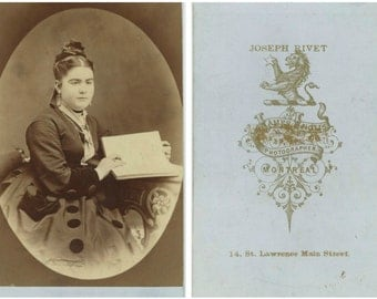 1800s CDV: Fashionable Young Woman with Book, Montreal by Joseph Rivet at James Inglis Studio