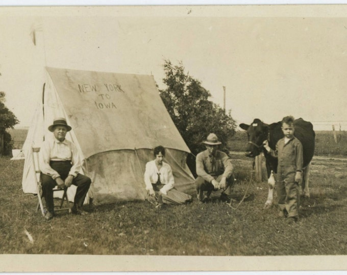 "Vintage Snapshot Photo: ""New York to Iowa"" Tent, c1920s-30s (59413)"