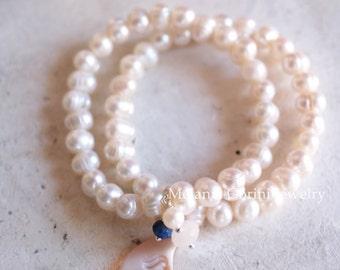 LUNA Bracelet-2 Strands 925 sterling silver, freshwater pearls bracelet with authentic sardonyx shell cameo,lapislazuli and moonstone