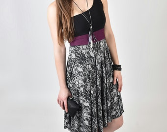 Black, grey and purple elegant dress