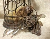 Made to order-ooak realistic pixkie dead Tooth Fairy dragonfly wings Fantasy miniature doll art goth dollhouse sideshow gaff Hoax joke