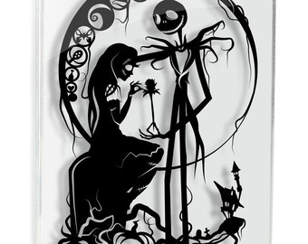 Nightmare Before Christmas Jack Skellington and Sally // silhouette hand cut paper craft unique wall art disney inspired love artwork