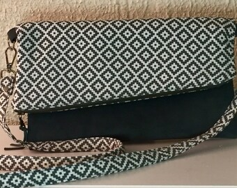 Crossbody Bag/Suede Crossbody Bag/Gray Fold over Crossbody Bag/FREE SHIPPING!!